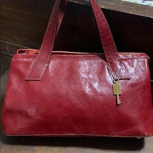 Fossil red leather bag